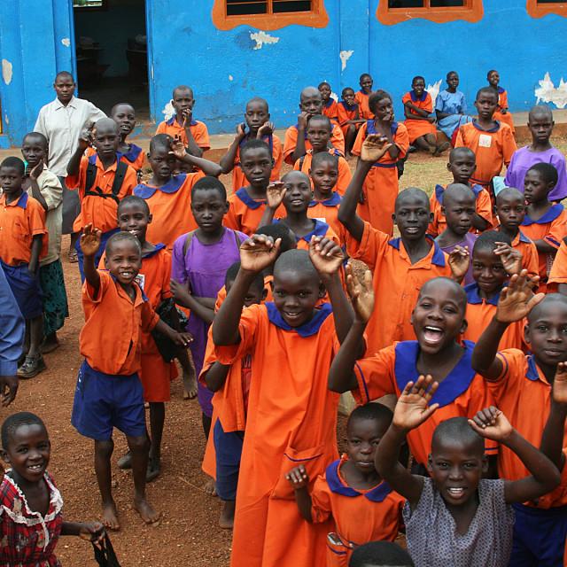 """Waving school children, Uganda"" stock image"