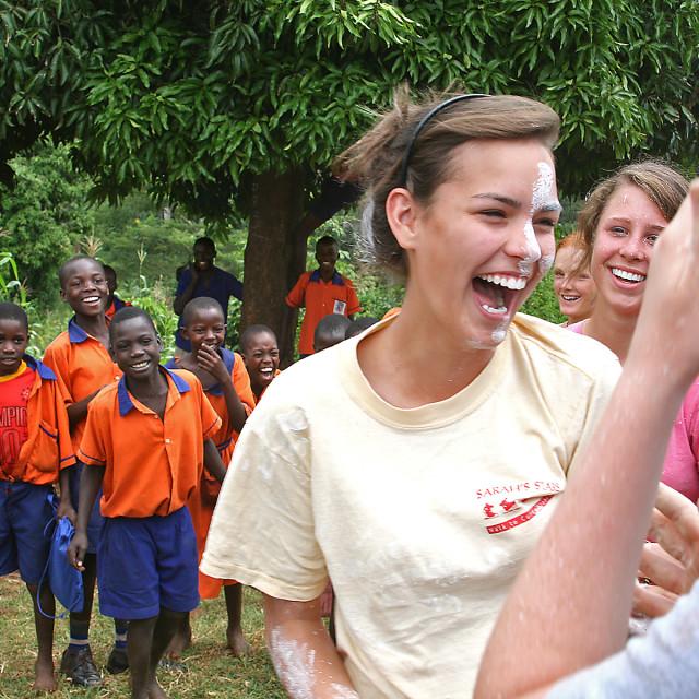"""""""Paint fight, Uganda"""" stock image"""