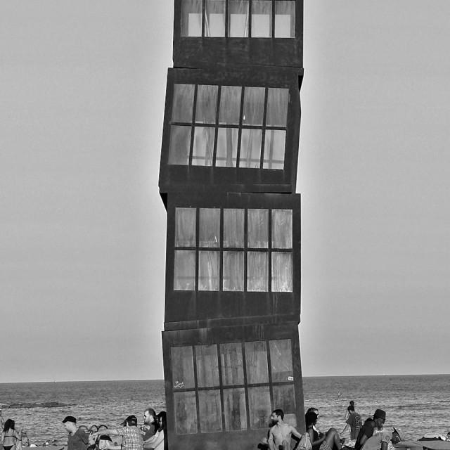 """Art sculpture on Barcelona beach"" stock image"