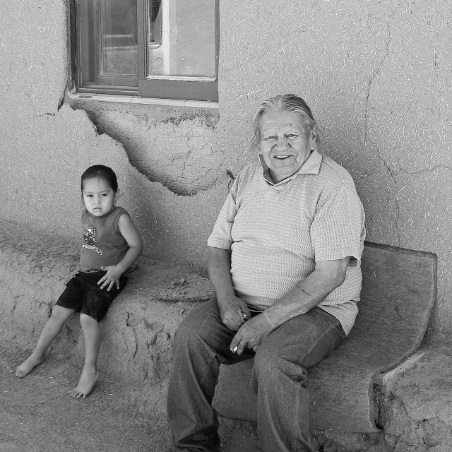 """""""Grandfather and granddaughter"""" stock image"""