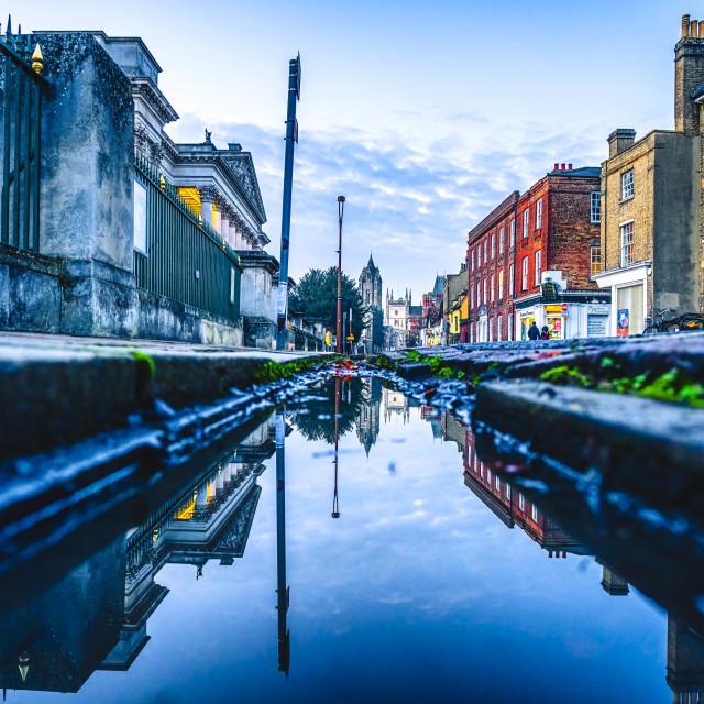 """Trumpington Street In reflection, Cambridge UK."" stock image"