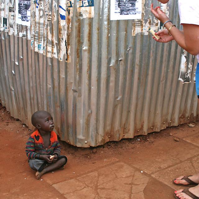 """""""Lost boy in Jinja, Uganda"""" stock image"""