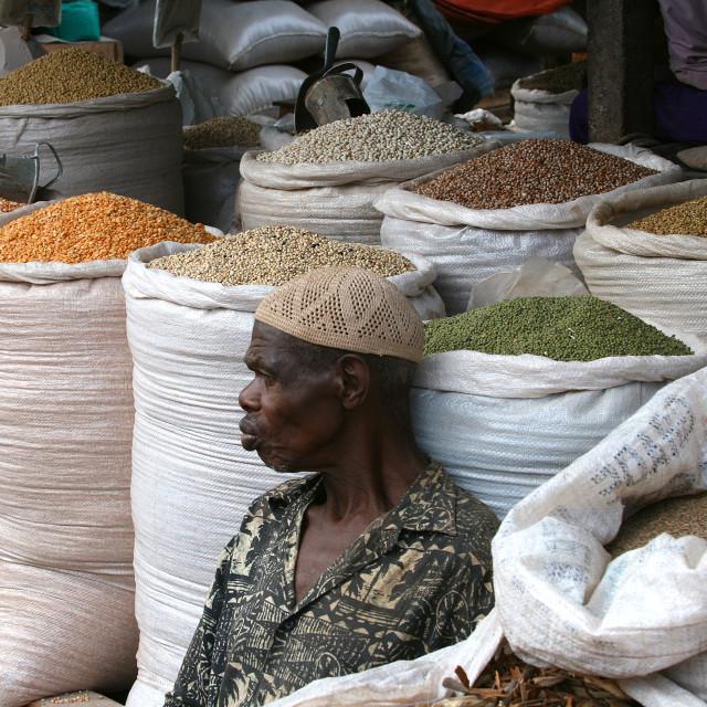 """Man and grain bins, Uganda, Africa"" stock image"