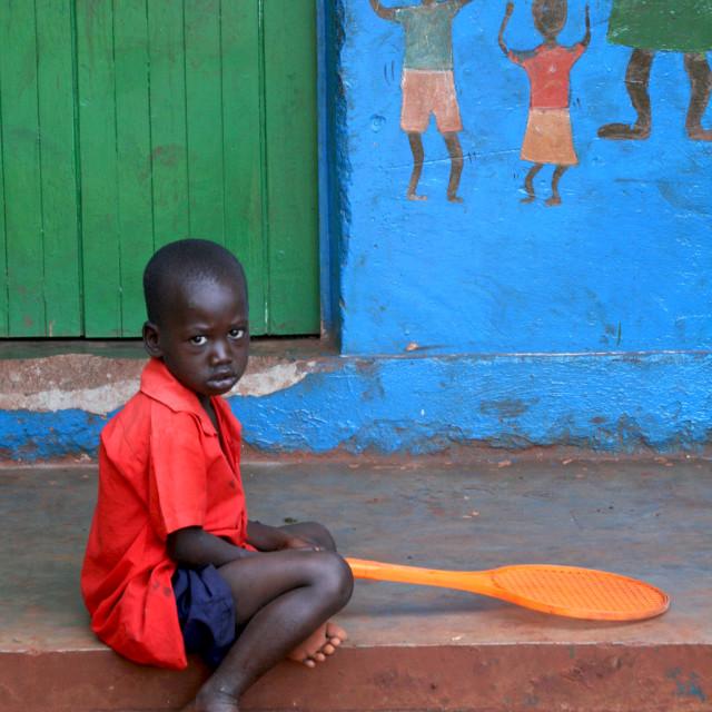 """Sad school boy, Uganda, Africa"" stock image"