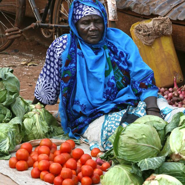 """""""Woman at produce market, Uganda, Africa"""" stock image"""