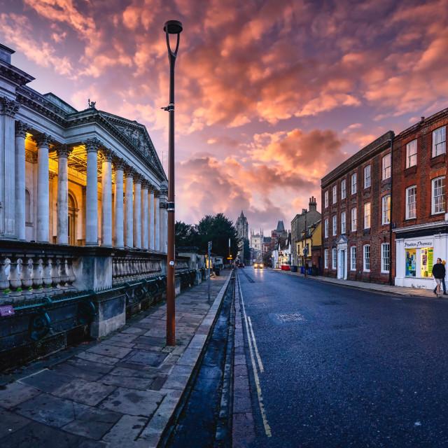 """""""Sunset on Trumpington Street, Cambridge UK."""" stock image"""