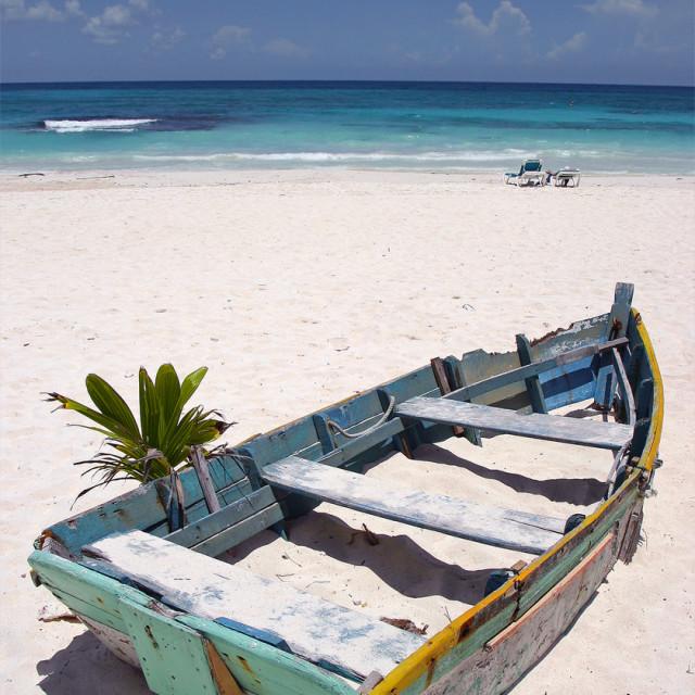 """""""Boat, Xpu-ha,Mexico"""" stock image"""