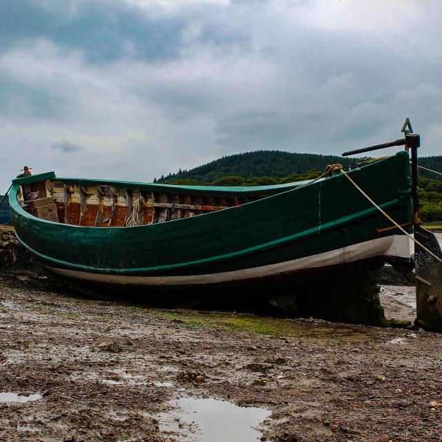 """Boat on Kippford harbour"" stock image"