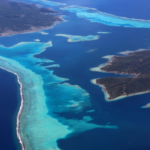 """Aerial view of Tahiti"" stock image"