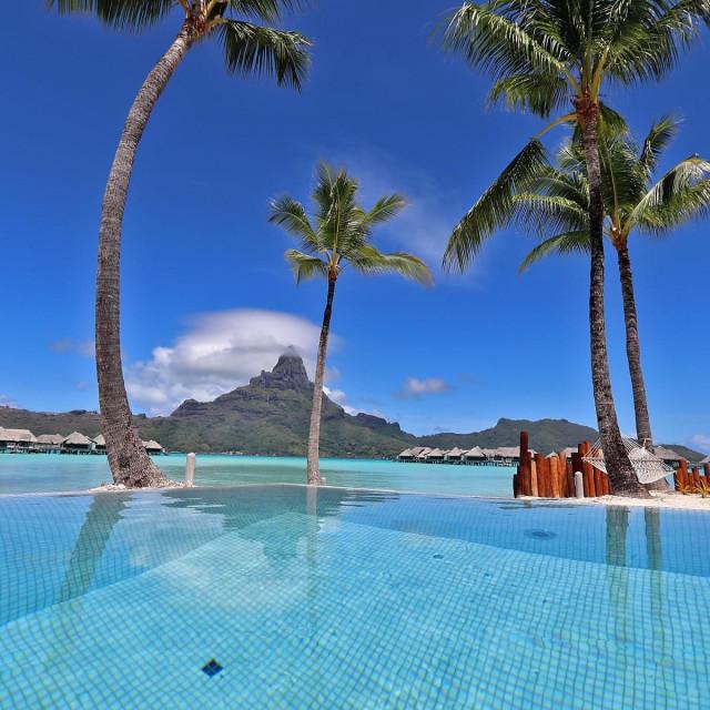 """Hotel intercontinental pool, Bora-Bora"" stock image"