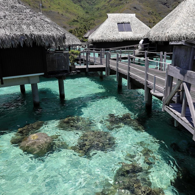 """""""Coral reef, bungalows, Moorea"""" stock image"""