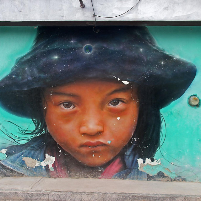 """""""Wall painting, Holbox, Mexico"""" stock image"""