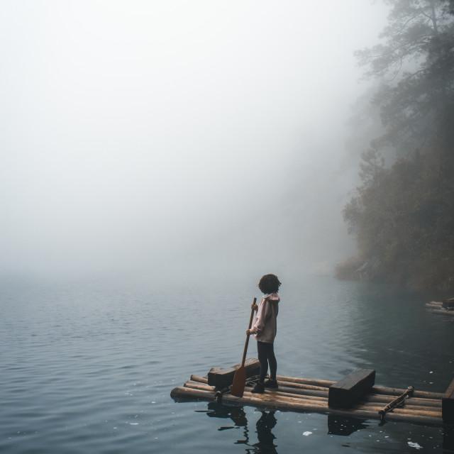 """""""Misty day at Lagos de Montebello, Mexico"""" stock image"""