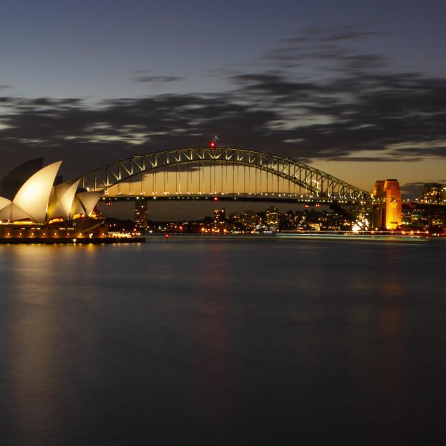 """""""Sydney opera house at dusk"""" stock image"""