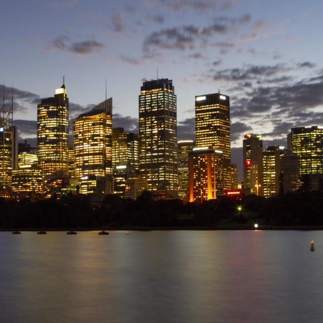 """""""Sydney skyline at dusk"""" stock image"""