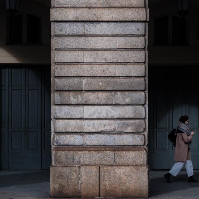 """""""Walking in Milan"""" stock image"""