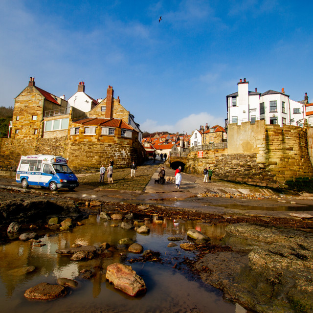 """""""Robin Hoods Bay, Yorkshire East Coast, England. A Panoramic View from the Beach of the village with Ice Cream Van to the Foreground. Photographed 10th October 2010"""" stock image"""