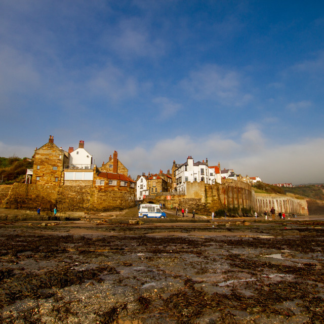 """""""Robin Hoods Bay, Yorkshire East Coast, England. A Panoramic View from the Beach Photographed 10th October 2010"""" stock image"""