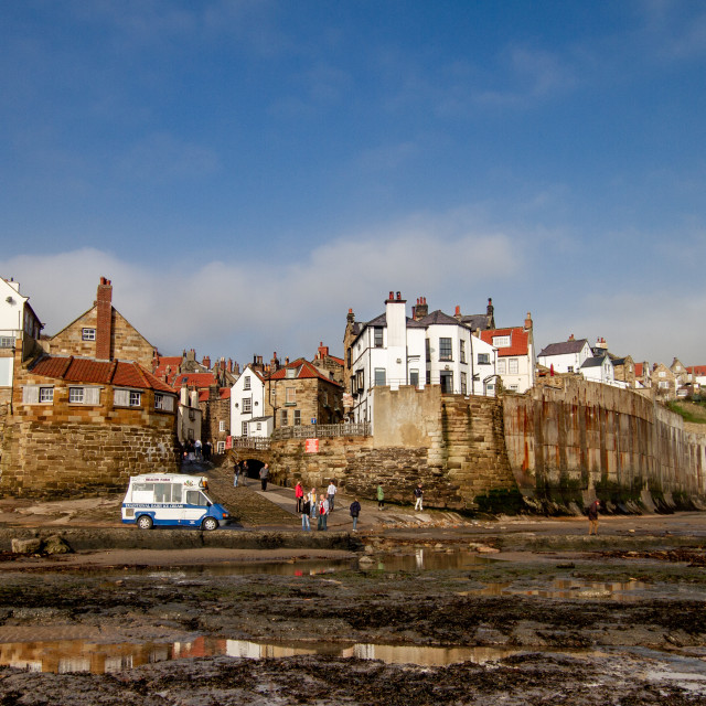 """Robin Hoods Bay, Yorkshire East Coast, England. A Panoramic View from the Beach with Ice Cream Van to the Foreground. Photographed 10th October 2010"" stock image"