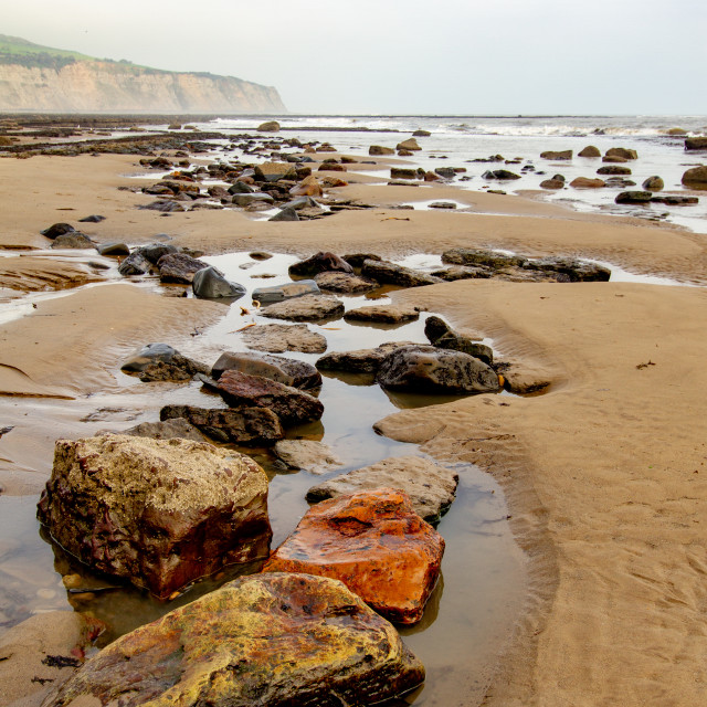 """""""Rockpools and Beach at Robin Hoods Bay, Yorkshire East Coast, England. A Panoramic View from the Beach"""" stock image"""