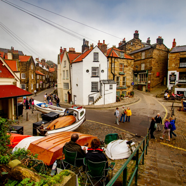 """Robin Hoods Bay, Yorkshire, England. View of the Dock Area showing junction of New Road and King Street. Photographed 10th October 2010."" stock image"