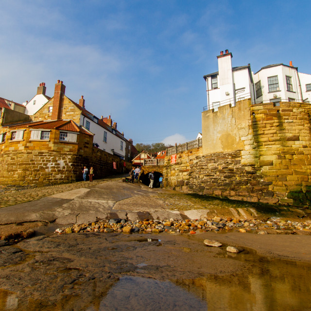 """Robin Hoods Bay, Yorkshire East Coast, England. A Panoramic View of the Village from the Beach Photographed 10th October 2010"" stock image"
