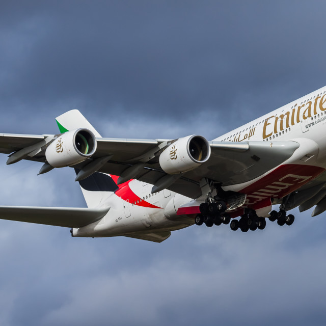 """Airbus A380 Emirates A6-EOJ"" stock image"