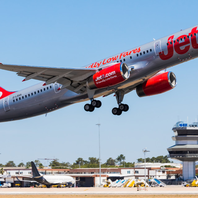 """Boeing B757 Jet2 Tenerife G-LSAA"" stock image"