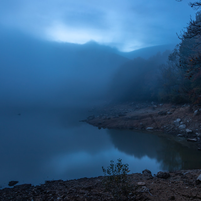 """Mysterious evening landscape, lake Santa Fe del Montseny"" stock image"