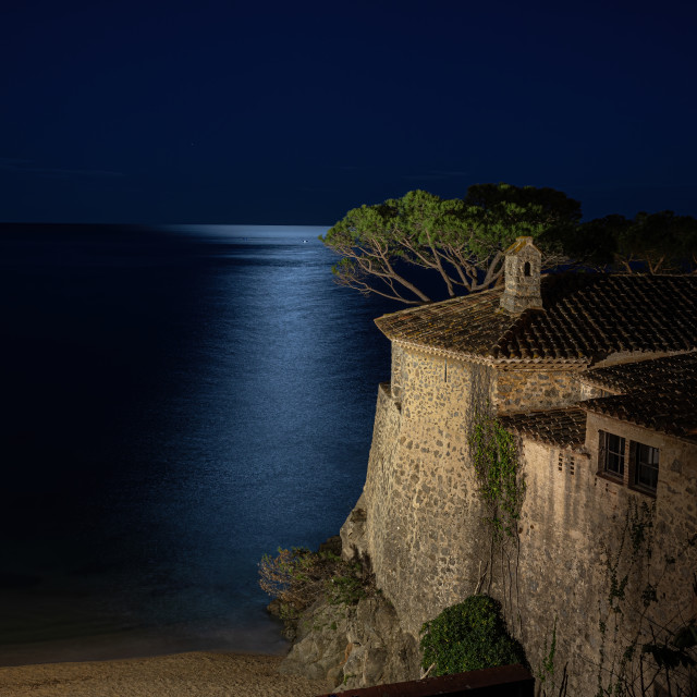 """Night scene , long exposure picture from a traditional building in Spanish Costa Brava, village Calella de Palafrugell"" stock image"