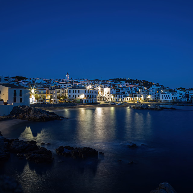 """Typical Spanish village in Costa Brava in the evening Calella de Palafrugell."" stock image"