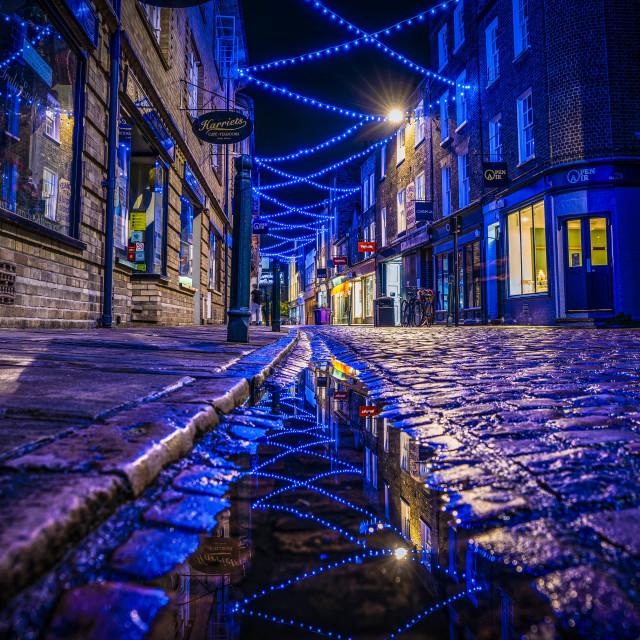 """Green Street in Reflection, Cambridge UK."" stock image"