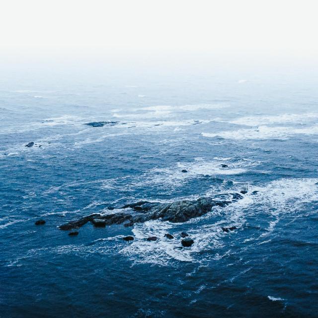 """""""Trá Mór - High tide on a hazey, rainy November day"""" stock image"""