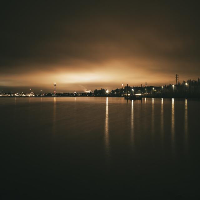 """Coastline At Night IV (Hiedanranta)"" stock image"