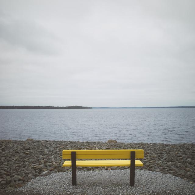 """Santalahti Coastline VI (Yellow Bench)"" stock image"