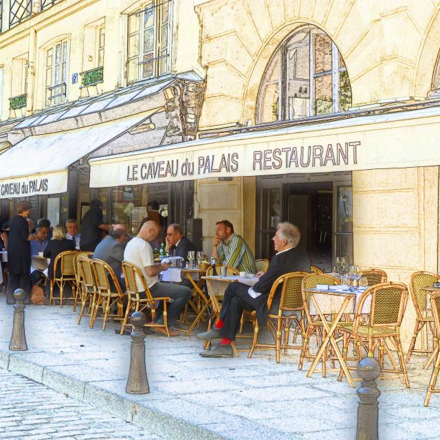 """Art drawing shot of restaurant Paris"" stock image"