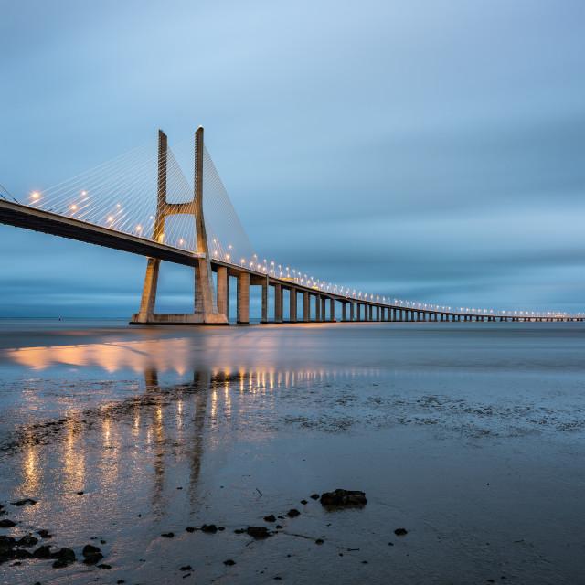 """""""Vasco da Gama bridge at dusk, Lisbon, Portugal"""" stock image"""