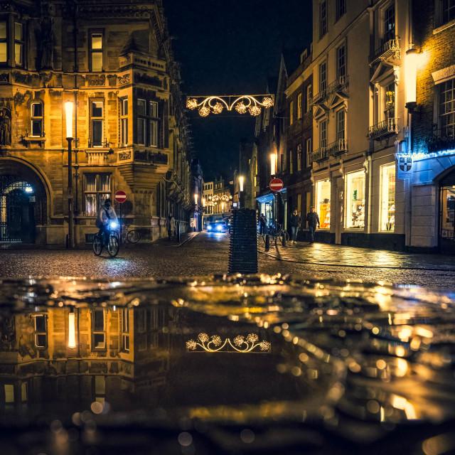 """Night reflections from King's Parade, Cambridge UK."" stock image"