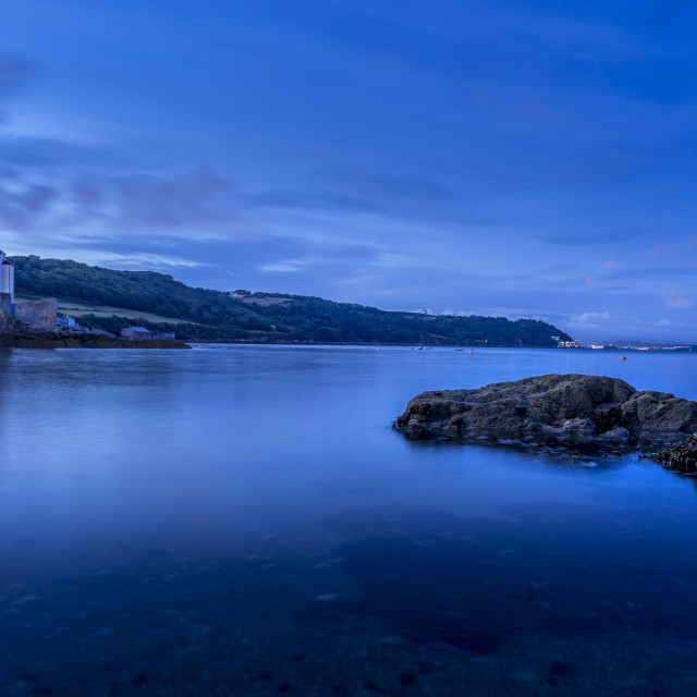 """""""Blue hour from Cawsand Beach, Cornwall UK."""" stock image"""
