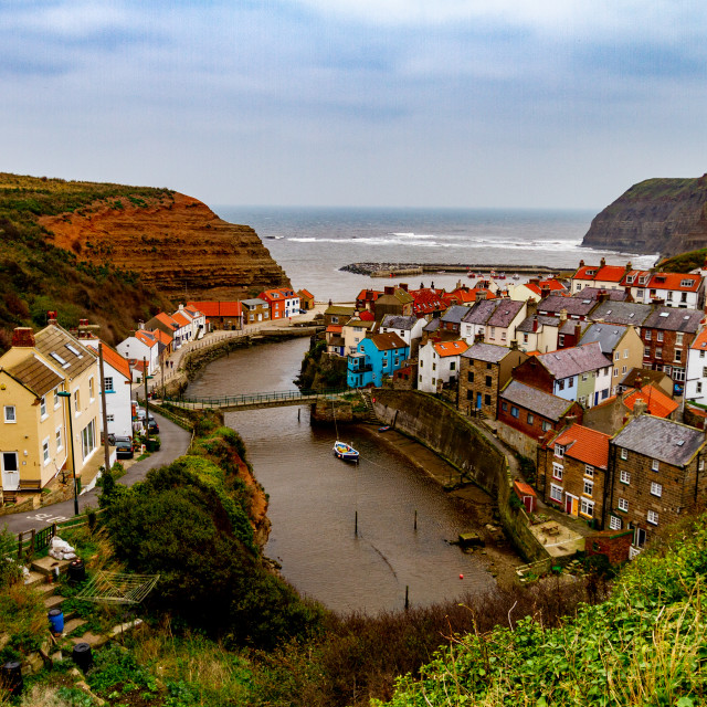 """A Panoramic View of Staithes at high tide, Yorkshire East Coast, England."" stock image"