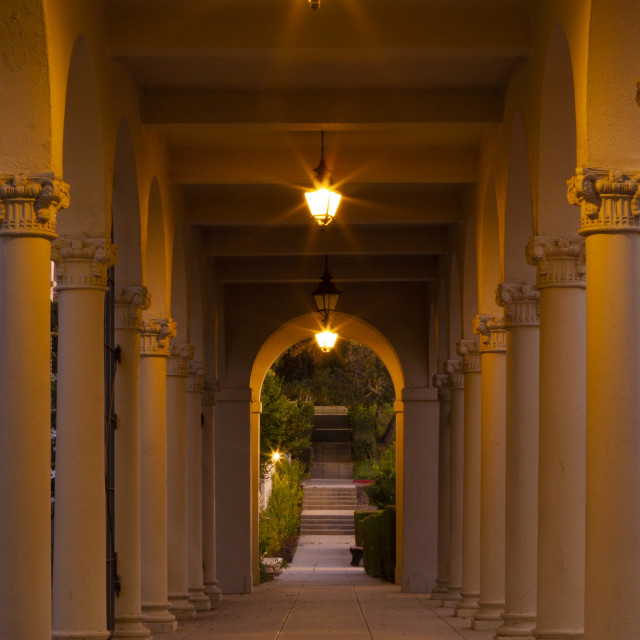 """""""Hallway at Occidental College at dusk"""" stock image"""