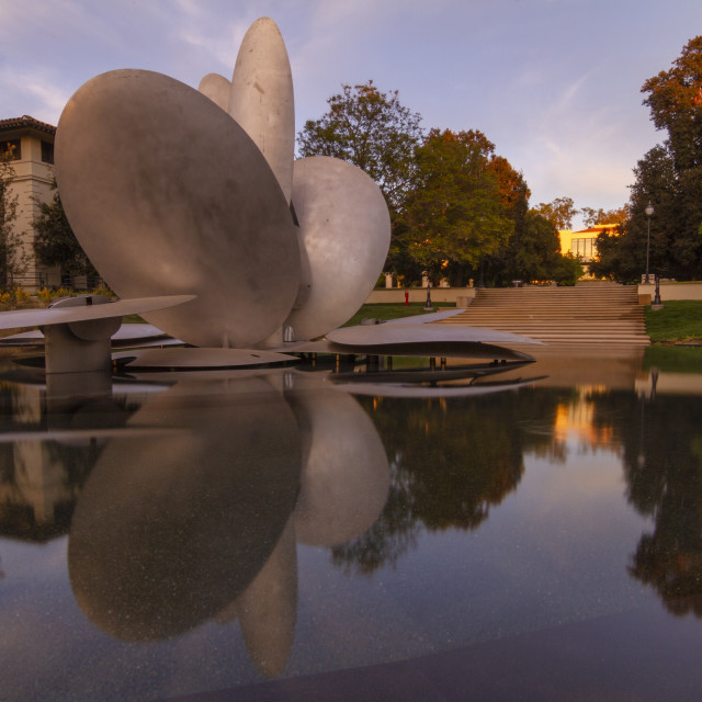 """""""Fountain at Occidental College at sunset"""" stock image"""