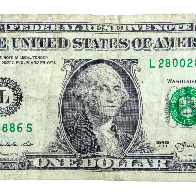 """Grungy Old Dollar Bill"" stock image"