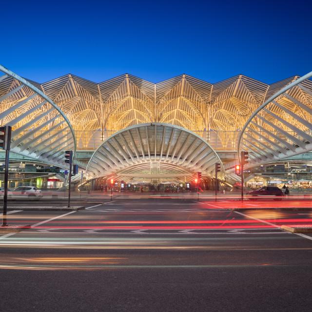 """Oriente station taken at dusk, Lisbon, Portugal"" stock image"