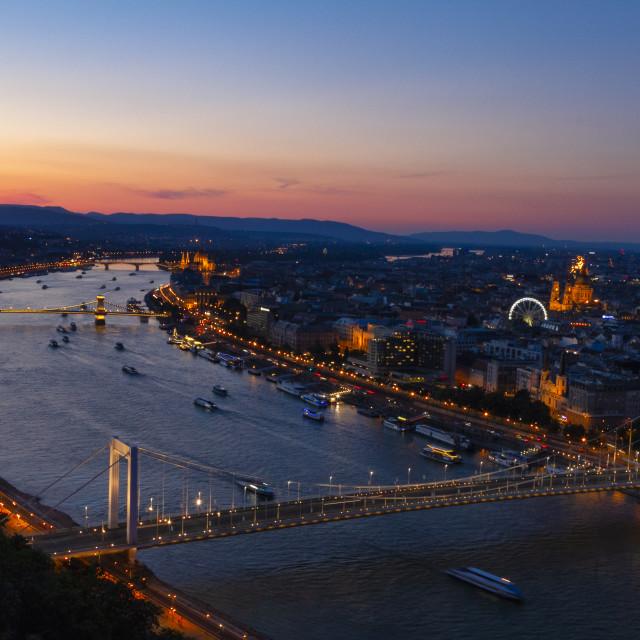 """Danube cutting through Budapest at sunset"" stock image"