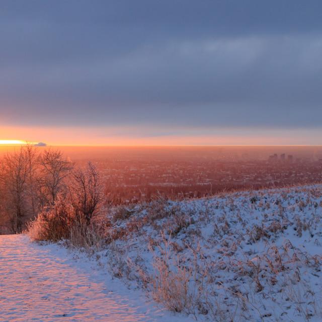 """Sunrise over Calgary"" stock image"
