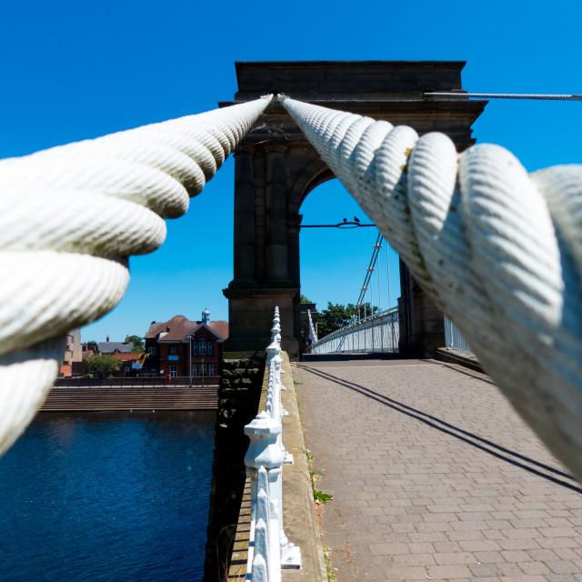 """Wilford Suspension Bridge cables"" stock image"