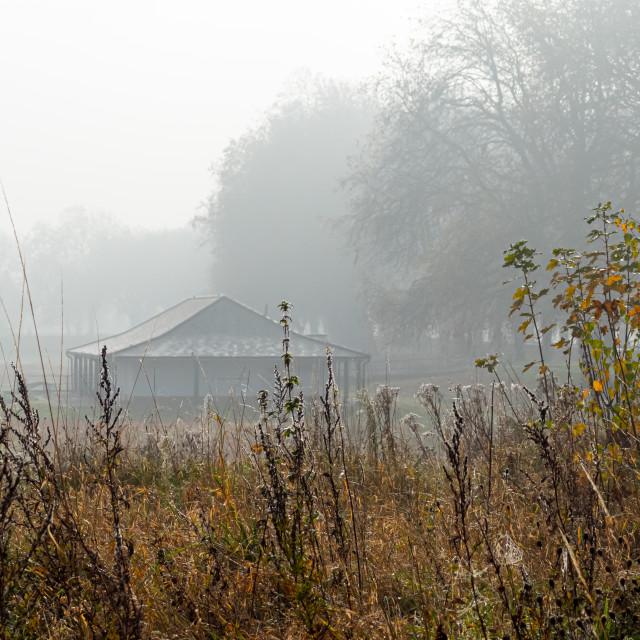 """Misty field and pavilion, The Embankment, Nottingham"" stock image"