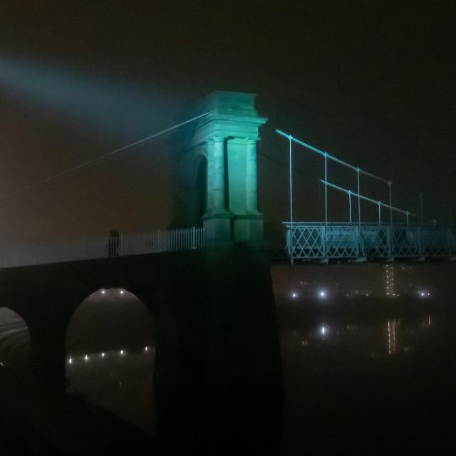 """Wilford Suspension Bridge in the mist"" stock image"