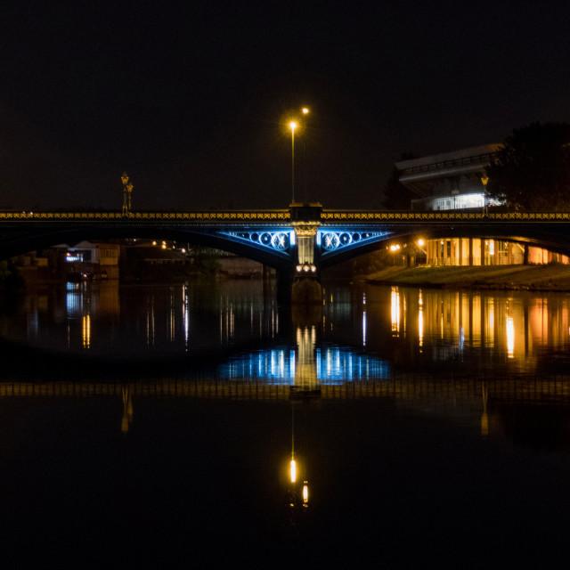 """Trent Bridge at night"" stock image"